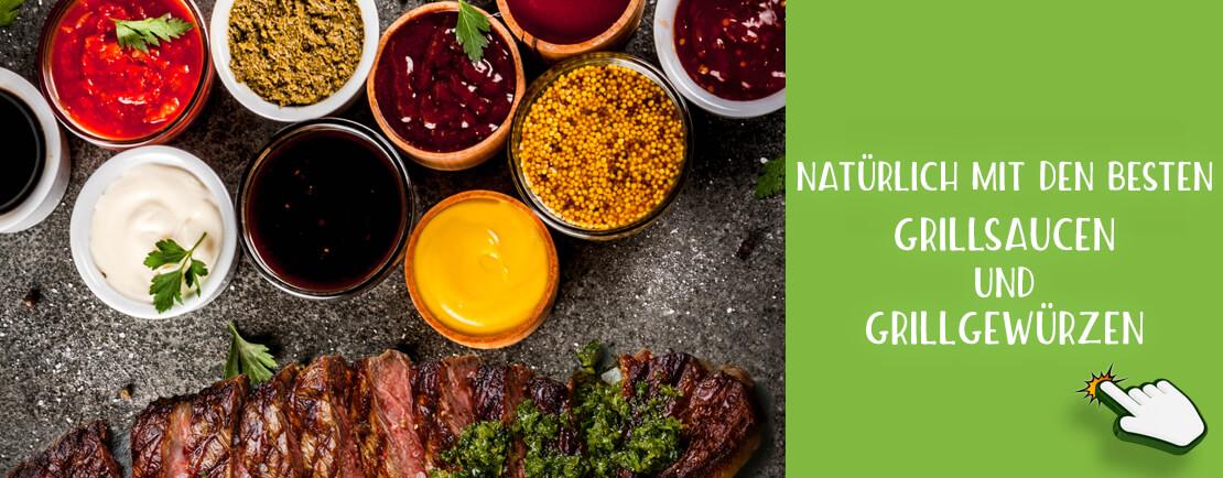 Natürlich mit den besten Grillsaucen und Grillgewürzen aus unserem Sortiment bei ecoget.de